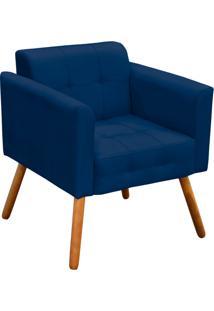 Poltrona Decorativa Elisa Suede Azul Marinho Pã©S Palito - D'Rossi - Azul Marinho - Dafiti
