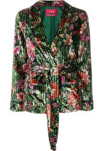 F.R.S For Restless Sleepers Blazer Aveludado Floral - Green