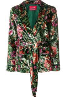 F.R.S For Restless Sleepers Blazer Aveludado Floral - Verde