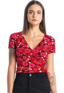 Blusa Vermelha Flora Decote V