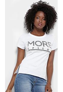 Camiseta Triton Estampa Logo Feminina - Feminino-Branco
