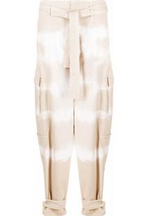 Stella Mccartney Calça Jeans Cenoura Tie-Dye Com Cinto - Neutro