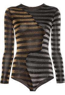 Alexia Hentsch Glitter Stripe Long Sleeve Bodysuit - Preto