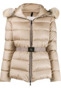 Moncler Fur-Trim Hood Padded Jacket - Neutro