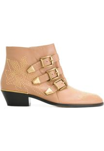 Chloé Ankle Boot 'Susanna' De Couro - Neutro