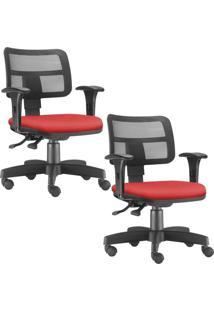 Kit 02 Cadeiras Giratã³Rias Lyam Decor Zip Suede Vermelho - Vermelho - Dafiti