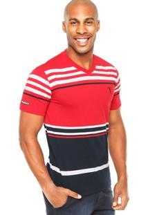 Camiseta Aleatory Listrada Vermelha/Branca