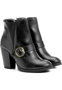 Bota Couro Cano Curto Shoestock Fivela Feminina - Feminino-Preto
