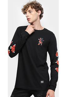 Camiseta Grizzly Luan Floral Long Sleeve Manga Longa Masculina - Masculino-Preto