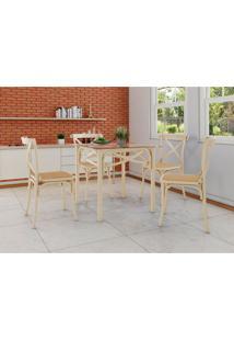 Conjunto De Mesa De Jantar Com 4 Cadeiras E Tampo De Vidro Katrina Bege