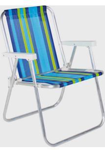 Cadeira De Praia Alta Em Aluminio Belfix Sortida Azul/Verde - Azul - Dafiti