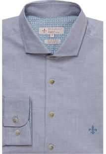 Camisa Dudalina Manga Longa Fio Tinto Maquinetada Masculina (Preto, 6)