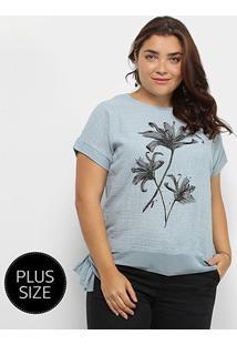 Blusa City Lady Plus Size Amarração Feminina - Feminino-Azul