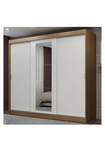 Guarda-Roupa Casal Madesa Kansas 3 Portas De Correr Com Espelho 3 Gavetas Marrom