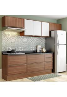 Cozinha Compacta 8 Portas Com Tampo E Rodapé 5456R Nogueira/Branco - Multimóveis