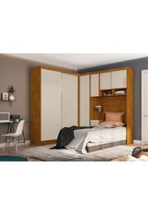 Dormitório De Solteiro Labrador Robel S/ Espelho Nature Off White Robel Móveis