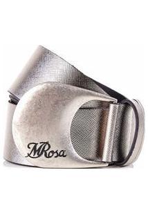 Cinto Cintura/Quadril Regular Fivela Com Ponteira Prata - M