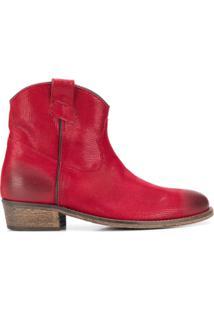 Via Roma 15 Ankle Boot Western Com Efeito Puído - Vermelho