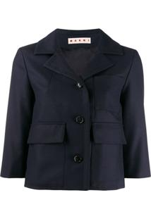 Marni Cropped Fitted Jacket - Azul
