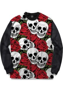 Blusa Bsc Skull Red Roses Full Print - Masculino