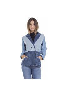 Blazer Denim Zero Jeans Alongado Mix Jeans
