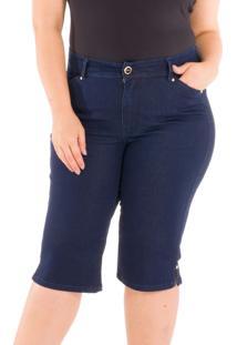 Pedal Special Jeans Com Barra Abertura Jeans Azul - Azul - Feminino - Dafiti