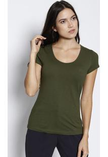 Blusa Com Bordado- Verde Militarjavali
