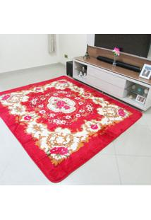Tapete Aveludado 3D Estampado Dubai Vermelho 2,00Mx2,50M Home Têxtil