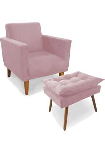 Kit Poltrona Decorativa Conforto Com Puff Pã©S Madeira Suede Rosa - Unico - Dafiti