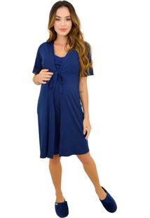 Camisola Gestante & Cia Lavi Com Robe Marinho - Azul Marinho - Feminino - Dafiti