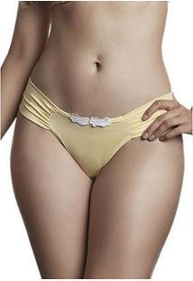 Calcinha Dukley Lingerie Fio Básico Detalhes Em Guipir - Feminino-Amarelo