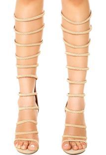 Sandália Di Cristalli Gladiadora Trancinhas Longa Nude
