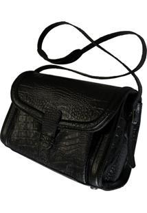 .Bolsa Line Store Leather Ellie Couro Preto Croco.