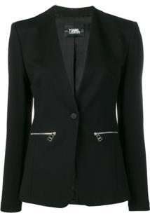 Karl Lagerfeld Blazer Decote Em V - Preto