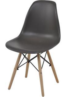 Cadeira Eames Eiffel Polipropileno Cinza Base Madeira - 44160 - Sun House