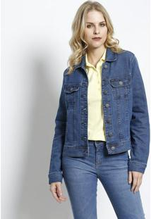 Jaqueta Jeans Com Bolsos - Azullee