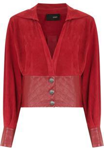 Andrea Bogosian Blusa Abotoamento Com Couro - Vermelho