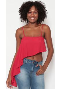 Blusa Cropped Assimã©Trica- Vermelha- Tritontriton
