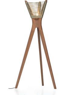 Luminária Moza Corda Náutica Madeira Eucalipto Design By Studio Ozki