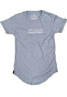 Camiseta Longline Stoned Bad Choices Masculina - Masculino-Azul