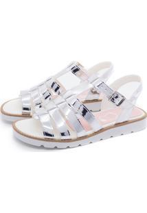 Sandália De Tiras Prata Mu Shoes