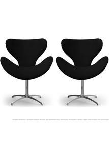 Kit De 02 Cadeiras Decorativas Poltronas Egg Preta Com Base Giratória