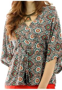 Blusa Aha Manga Kimono Estampa Arabescos 1 Preto