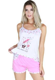 Pijama Curto Bravaa Modas Alça Short Blusinha Rosa