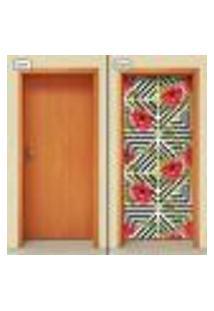 Adesivo Decorativo De Porta - Flores - 1631Cnpt