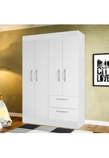 Guarda-Roupa Solteiro 4 Portas Juvenil Jaspe Branco - Colibri Móveis