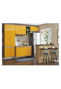 Cozinha Completa Multimóveis Com 5 Peças Sicília 5845 Argila/Amarelo