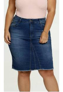 Saia Feminina Jeans Barra Desfiada Plus Size Razon