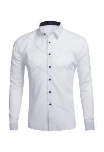 Camisa Masculina Slim Fit Com Detalhes Em Costura Manga Longa - Branco