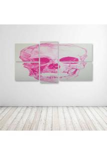Quadro Decorativo - Skull Pink - Composto De 5 Quadros
